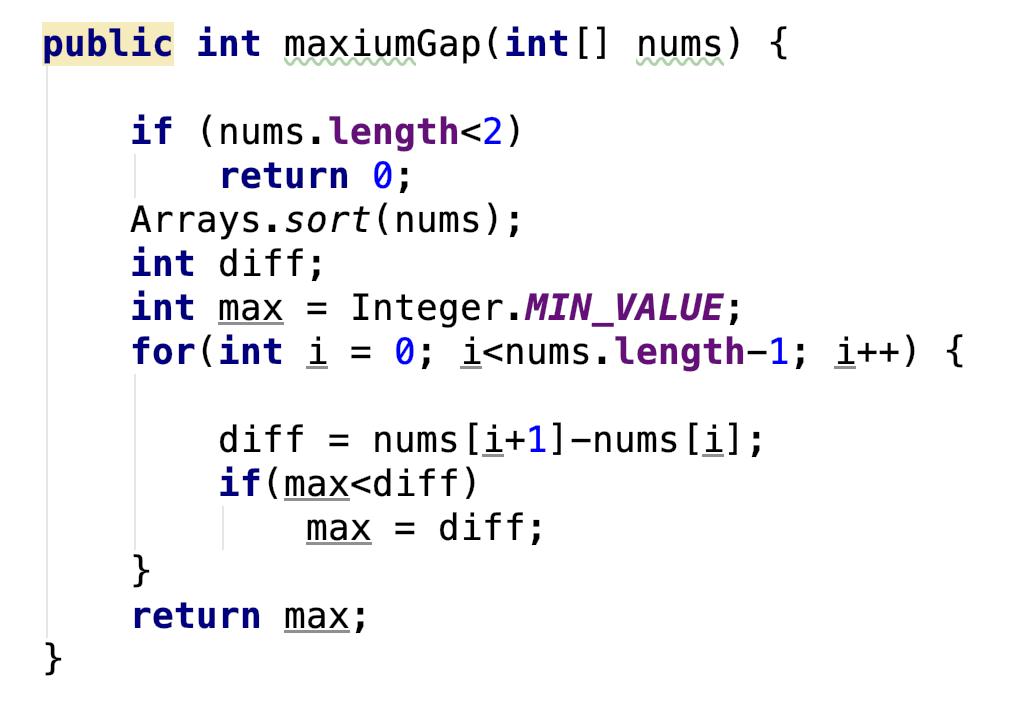 LeetCode 164 Maximum Gap [sort] java – Tinyfool's blog